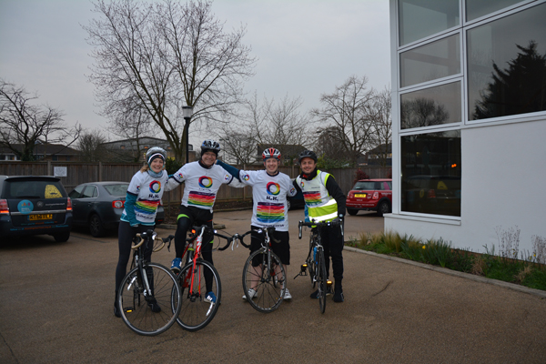 L to R Bryony, Mike, Darren and Paul outside Shooting Star House in Hampton