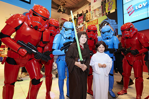 Copyright STEWART WILLIAMS 07956 568150 To celebrate the opening of The Toy Store's new flagship UK store on Oxford Street, George Ludlow, 13, and Ruby May Grimshaw, 7, from children's hospice charity Shooting Star Chase, have a fun-filled time dressed as their favourite Star Wars characters. George and Ruby May are accompanied by The Toy Store's exclusive army of Stormtroopers. Shooting Star Chase is The Toy Store's official UK charity partner, supporting children with life limiting conditions and their families. 24/9/15