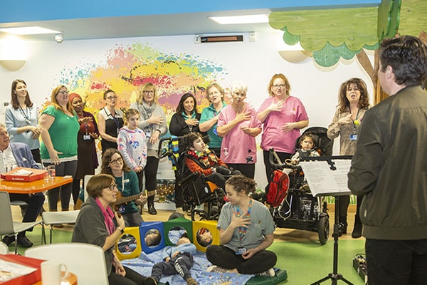 Children and staff perform Makaton version for Rick Astley