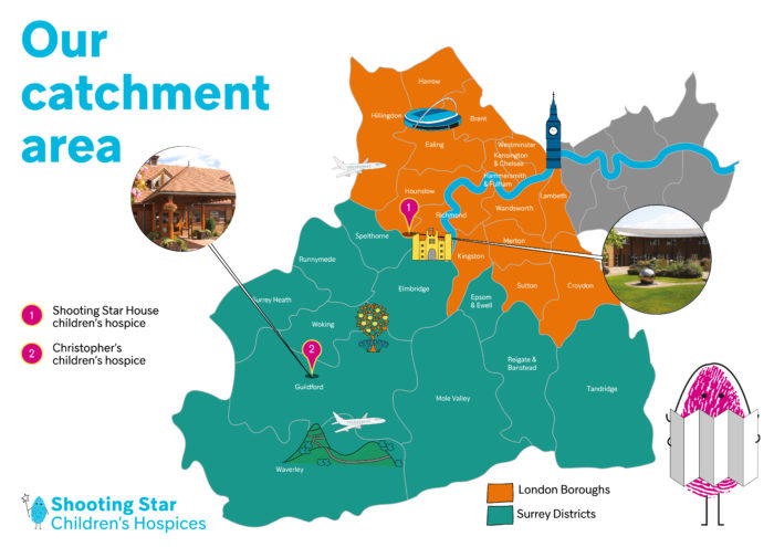 This map displays our catchment area, which is Surrey and a number of western London boroughs. If you are unable to view it or have any questions please get in touch with our