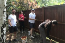 Staff team repainting the garden wall at our hospice